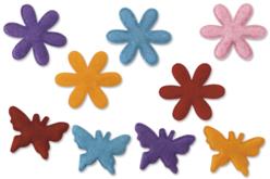 Set de 20 fleurs et papillons en feutre, couleurs assorties