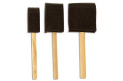 Set de 3 pinceaux mousse avec manche en bois