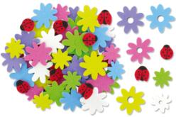 Caoutchouc souple auto-adhésif : fleurs et coccinelles prédécoupées