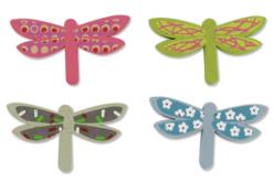 Libellules en bois décoré - Set de 8 - Motifs peint – 10doigts.fr