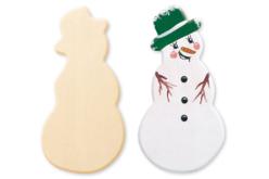 Bonhomme de neige en bois naturel à décorer