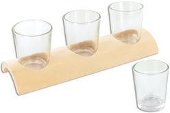 3 photophores en verre avec support en bois demi-rond
