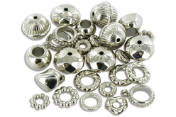 Perles et charm's en plastique métallisé argenté - Perles intercalaires – 10doigts.fr
