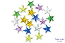Set de 18 strass étoiles (1,3 cm), 6 couleurs assorties