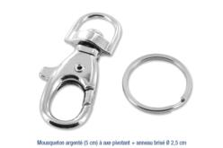 Mousqueton argenté à axe pivotant, avec anneau brisé