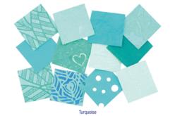 Set d'environ 140 papiers artisanaux indien en camaïeu turquoise