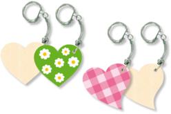 Porte-clés cœurs - Lot de 4 - Porte-clefs en bois – 10doigts.fr