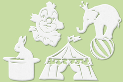 """Set de 4 grands motifs """"Dentelle de bois"""" : Cirque"""