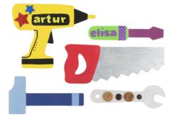 Formes outils en bois à décorer - Set de 5 - Supports plats – 10doigts.fr - 2