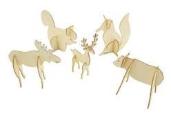 Animaux de la forêt en bois à monter - Set de 5 - Animaux en bois à décorer – 10doigts.fr - 2
