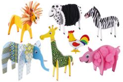Animaux 3D en carton mousse à décorer - Set de 13 - Maquettes en papier – 10doigts.fr - 2