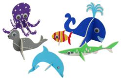 Animaux marins 3D en carton mousse à décorer - Set de 6 - Maquettes en papier – 10doigts.fr - 2