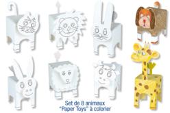 """Animaux """"Paper Toys"""" à colorier"""