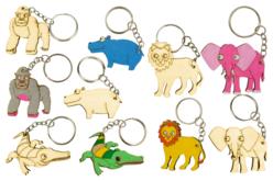 """Porte-clés en bois """"Animaux savane"""" - 5 animaux - Porte-clefs en bois – 10doigts.fr"""
