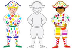 Grands Arlequins à colorier - 6 arlequins - Mardi gras, carnaval – 10doigts.fr