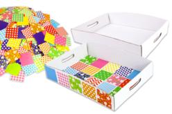 Atelier mosaïques : 30 plateaux en carton blanc + 1000 mosaïques XXL - Mosaïques en papier, carton et mousse – 10doigts.fr