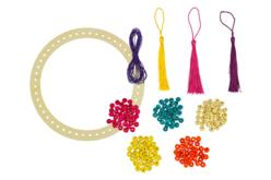 Attrape-rêves avec perles et pompons - Lot de 6 - Carillons et Mobiles – 10doigts.fr - 2
