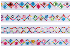 Strass sur bandes auto-adhésifs - 4 bandes de strass - Stickers strass, cabochons – 10doigts.fr