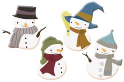 Bonhommes de neige en bois décoré - Set de 8 - Motifs peint – 10doigts.fr