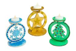 Bougeoirs en bois Noël - Set de 3 formes - Bougeoirs et Lumières – 10doigts.fr - 2