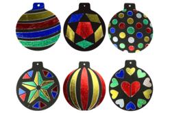 Cartes à métalliser Boules de Noël - 6 cartes assorties - Suspensions et boules de Noël – 10doigts.fr - 2