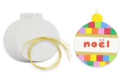 Boule de Noël en carton blanc - Boule de noël – 10doigts.fr - 2
