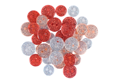 boutons acrylique pailletés rouge