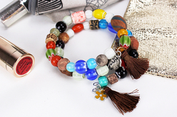 Perles indiennes chevrons en verre - 40 perles - Perles en verre – 10doigts.fr - 2