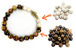Perles Œil de Tigre - 48 perles - Perles Lithothérapie – 10doigts.fr - 2