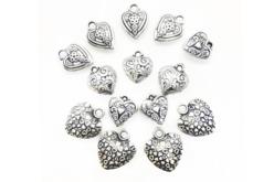 Perles char'ms cœurs argenté - 14 charm's - Décorations Coeurs – 10doigts.fr - 2