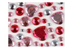 Strass adhésifs ronds et coeurs rose - 106 strass - Décorations Coeurs – 10doigts.fr - 2