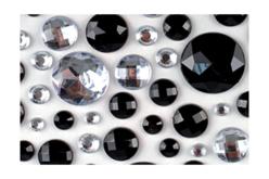 Strass adhésifs ronds noirs et transparents - 106 strass - Strass – 10doigts.fr - 2
