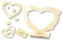 Cadre coeur + mini formes en bois - Cadres photos en bois – 10doigts.fr - 2