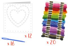 Kit Cartes coeur à broder - 12 cartes - Cartes et poèmes de fêtes – 10doigts.fr - 2