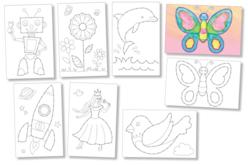 Cartes à broder et à colorier - 7 cartes assorties - Kits Mercerie – 10doigts.fr - 2