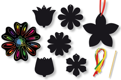 Cartes à gratter thème Fleur + accessoires - 6 formes - Cartes à gratter – 10doigts.fr