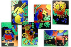 Cartes à métalliser Animaux - 6 cartes assorties - Kits créatifs en Papier – 10doigts.fr - 2