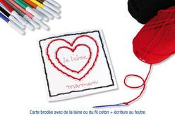 Cartes coeur à broder et à colorier