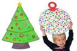 Formes géantes de Noël en carte forte imprimée - 6 décors - Supports de Noël en carton et papier – 10doigts.fr - 2