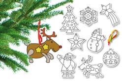 Suspensions de Noel en carte à sabler - Set de 8 - Sable coloré – 10doigts.fr