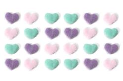 Stickers coeurs fourrure Pastel - 24 coeurs - Décorations Coeurs – 10doigts.fr