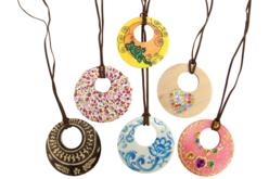 Colliers pendentif en bois - Lot de 6 - Kits bijoux – 10doigts.fr - 2
