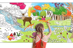 Fresque géante à colorier - La forêt - Supports pré-dessinés – 10doigts.fr