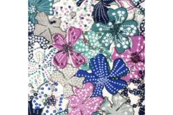 Coupon de tissu imprimé grandes fleurs tons bleus - 43 x 53 cm - Coupons de tissus – 10doigts.fr - 2