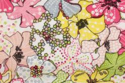 Coupon de tissu imprimé fleurs larges - 43 x 53 cm - Coupons de tissus – 10doigts.fr
