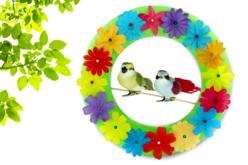 Oiseaux colorés sur pince - Set de 3 - Décorations à coller – 10doigts.fr - 2