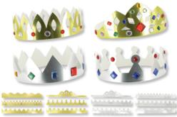 Couronnes métallisées or et argent - Set de 12 - Mardi gras, carnaval – 10doigts.fr - 2