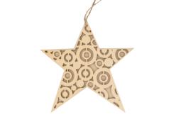 Etoile structurée en bois naturel avec cordon - Noël – 10doigts.fr