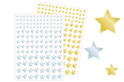 Gommettes étoiles métallisées or et argent - 2 planches - Gommettes Noël – 10doigts.fr