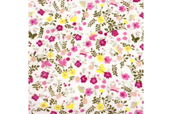 Coupon en coton imprimé : fleurs jaunes et mauves + fond blanc - Coton, lin – 10doigts.fr - 2